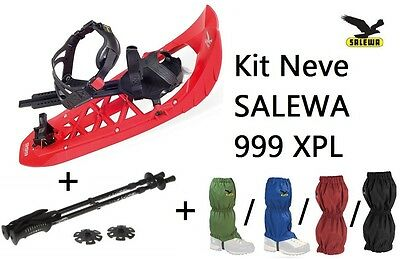 SALEWA Kit Neve 999 XPL Flame Red ciaspola ciaspole + Ghette + Bastoncino NEW!!