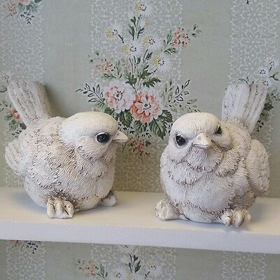 Pair of Small Cream Birds Ornament Vintage Shabby Chic Style Gift Home