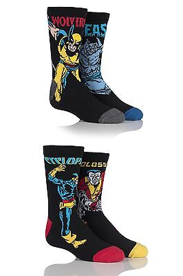 Kids 4 Pair SockShop Marvel X-Men Wolverine, Beast, Cyclops and Colossus Cotton
