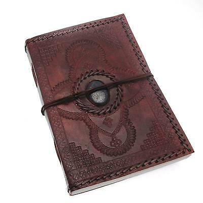 Indra Fair Trade Hefty Embossed Stitched Stoned Leather Journal 2nd Quality