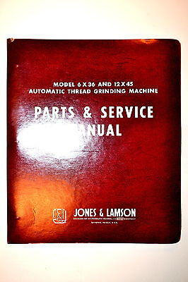 JONES & LAMSON AUTOMATIC THREAD GRINDING MACHINE PARTS & SERVICE Manual #RR692