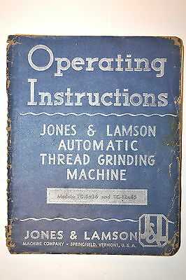 JONES & LAMSON OPERATING INSTRUCTIONS AUTOMATIC THREAD Grinding MACHINE RR694