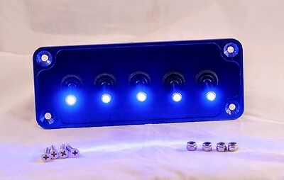 BILLET : Blue Anodized Plate w/ LED toggle switches - Blue
