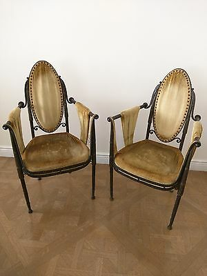 French Art Deco by Raymond Subes 1924 Wrought-Iron Pair of Armchairs