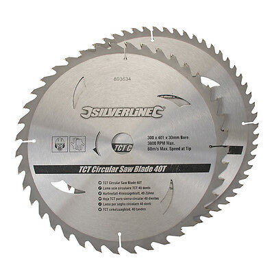 2pk TCT Circular Saw Blades 30 - 25, 20, 16mm Rings Bore 250mm or 300mm