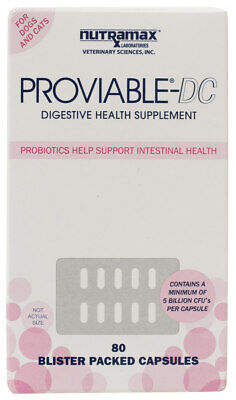 Proviable DC Digestive Health Supplement for Cats and Dogs 80 Capsules by Nutram