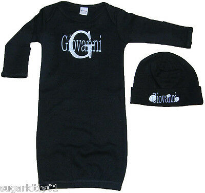 Personalized Infant Gown & Hat Set Black Gown Initial & Name Design Free Ship