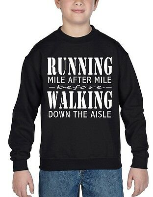 Running Mile After Mile Youth Crewneck Motivation Gym Running Exercise Sweater