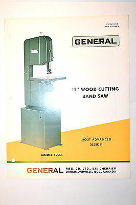 "General 490 15"" WOOD CUTTING BAND SAW BROCHURE 1971 RR636 feature specifications"