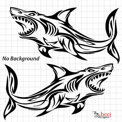 2 Shark Tribal Sticker Boat Decal Fishing Rod Line Lure Seafood Tank Tackle Reel