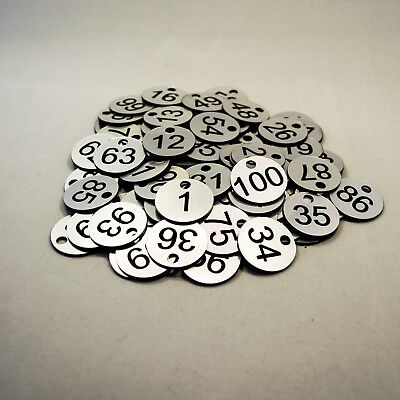 Set of 100x3cm Laser Engraved Number Discs, Table, Tags, Locker, Pub, Restaurant