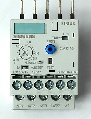 Siemes 3RB2016-1PB0 Overload Relay 1.0-4.0 A Class 10