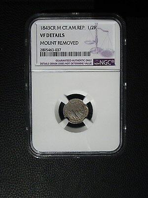 1843 CR M Central American Republic 1/2 Real, NGC VF Details - Mount Removed