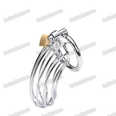Men's Chastity Belt Device Locking 3 RINGS Steel Plated Chrome Male