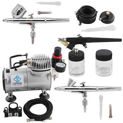 OPHIR Professional 3  Airbrush Dual-Action & Single-Action Kits Air Compressor