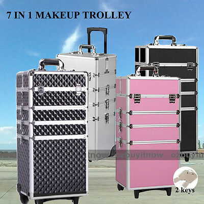 7 In 1 Portable Cosmetics Beauty Case Makeup Box  Organiser Trolley Carry Bag