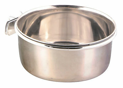Bird Food or Water Stainless Steel Bowl & Holder & Screw Attachment 600ml 12cm