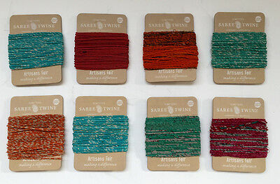 Nutley's Pack of 8 10m Recycled Sari Twine Fairtrade Colourful Bright
