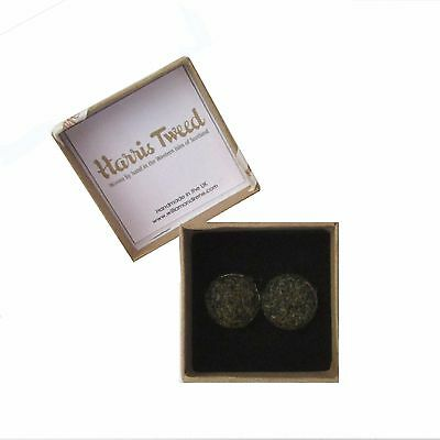 Harris Tweed Moss Green Handmade Boxed Cufflinks