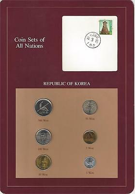 Coin Sets of All Nations - Korea, 6 coin maroon set