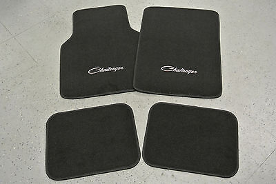 1970 Dodge Challenger Black Floor Mats 4 Piece Set SILVER Embroidery MADE IN USA