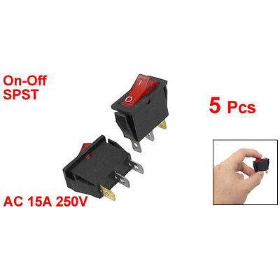 5 pcs Red IllumInated Light On/Off SPST Boat Rocker Switch 15A 250V AC SP