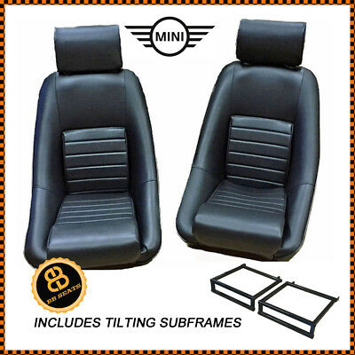 Pair BB RS Classic BLACK Sports Racing Bucket Seats + Subframe CLASSIC MINI