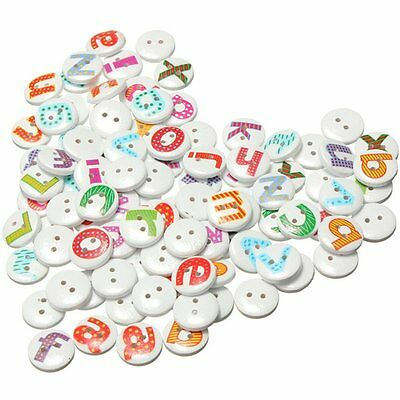 100Pcs Mixed Painted Letter Alphabet Wooden Sewing Button Scrapbooking SP