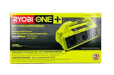 New Ryobi One Plus 18V Volt Dual Chem 6 Port Super Charger Battery Charger P135