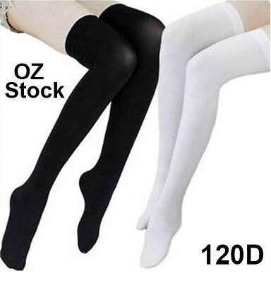 Womens Girls Long Socks Over Knee Thigh High Stockings Hosiery Tights School