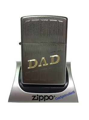 Zippo New Design Dad Lighter Satin Chrome Two Tone Engraved Windproof Model 205