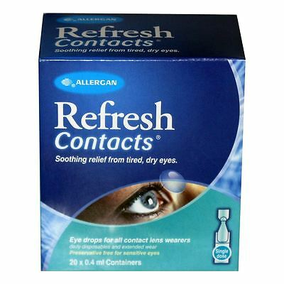 Refresh Contacts Unit Vials For Tired Dry Eyes - 20 X 0.4Ml