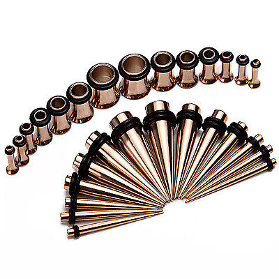 28pc Gauges Kit Tapers and Plugs Stainless Steel Tunnels 12G-0G Ear Stretching