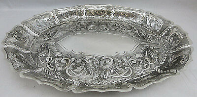 Sterling Silver 925 Large Traditional Oval Tray with Hand Chasing Design Rare