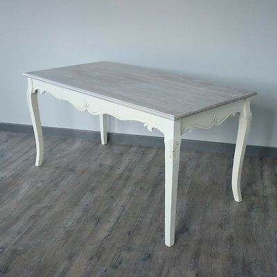 Cream Dining table pained legs wodden top french country distressed shaby chic