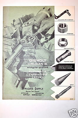 GISHOLT CRI-DAN B SINGLE-POINT AUTO THDREADING LATHE  CATALOG No.1266-A #RR289