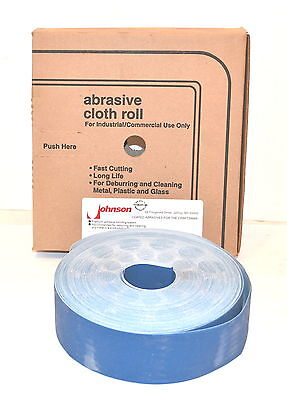 "NOS USA Johnson 2""x50yrd ALUMINUM OXIDE ABRASIVE CLOTH ROLL deburring & cleaning"