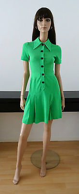 ROBE VINTAGE 60's/70'S CREATIONS DELLOS VERTE MADE IN FRANCE TAILLE 34/36/UK 6/8