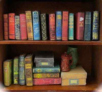 21 DUSTY OLD BOOKS Miniature Dollhouse 1:12 Scale FILL Bookshelf PROP Faux Books