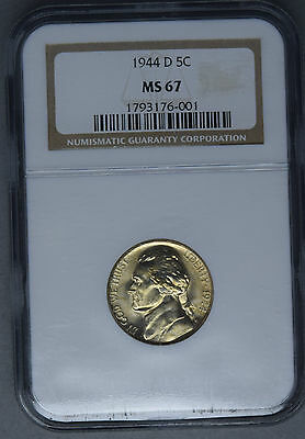 united states usa 1944 d Jefferson ngs ms67 flashy clean coin with gold toning