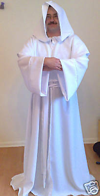 White Monk Robe In Polyester For Fancy Dress Larp Cosplay