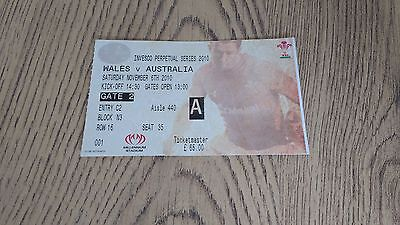 Wales v Australia 2010 Used Rugby Ticket