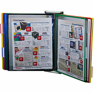 "Tarifold W291 Wall Mounted 10 Pocket Reference Rack, Holds 20 8.5 x 11"" Sheets"