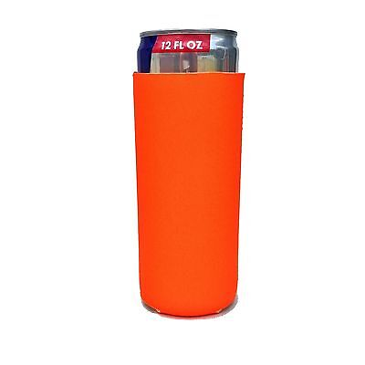 5 Pack Of Neon Orange Collapsible Neoprene 12oz Michelob Ultra Slim Can Koozies
