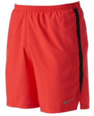 "Nike Dry Challenger Men's 7"" Running Shorts Red New 644242-647"