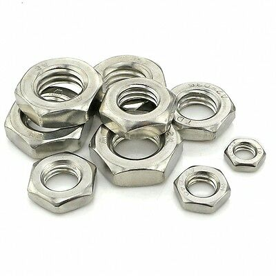 M3 M4 M5 M6 M8 M10 M12 M14 M16 M20 Half Lock Nuts Hex Jam Nuts 304 A2 Stainless