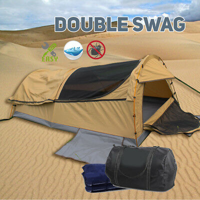 New Double Swag Camping Swags Canvas Tent Large Size Poles Tent Hiking Bag