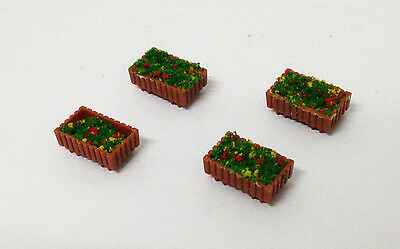 Outland Models Railway Layout Brown Pot w Flower x4 for Park Garden Gauge HO OO