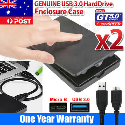"2x New 2.5"" USB 3.0 SATA External HDD SSD Hard Drive Enclosure Disk Case"