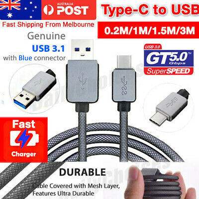 Braided USB 3.1 Type C USB-C to Male Data Cable Google 5x Oneplus 2 Samsung S8